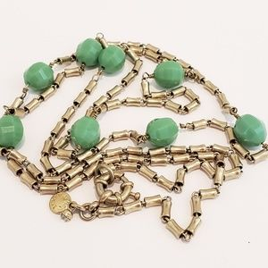 J. Crew Long Necklace Green Accent Beads